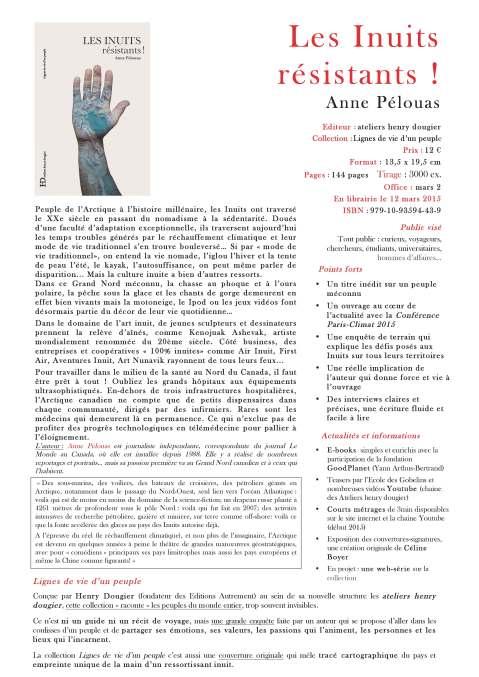 Les Inuits résistants - livre écrit par Anne Pélouas