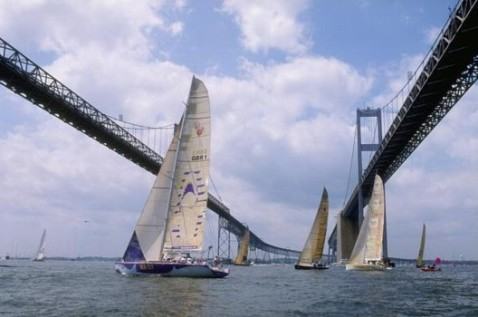 The Fleet tack under Chesapeake Bay Bridge
